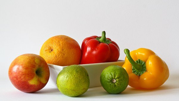 apple, orange, pepper and green fruits