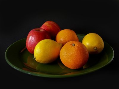 fresh fruit on a glass dish