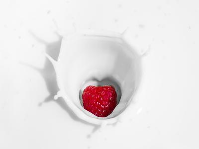 Raspberry in milk