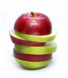 Apples cut into slices