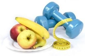 fruits and dumbbells