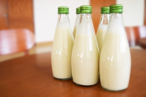 milk in bottles