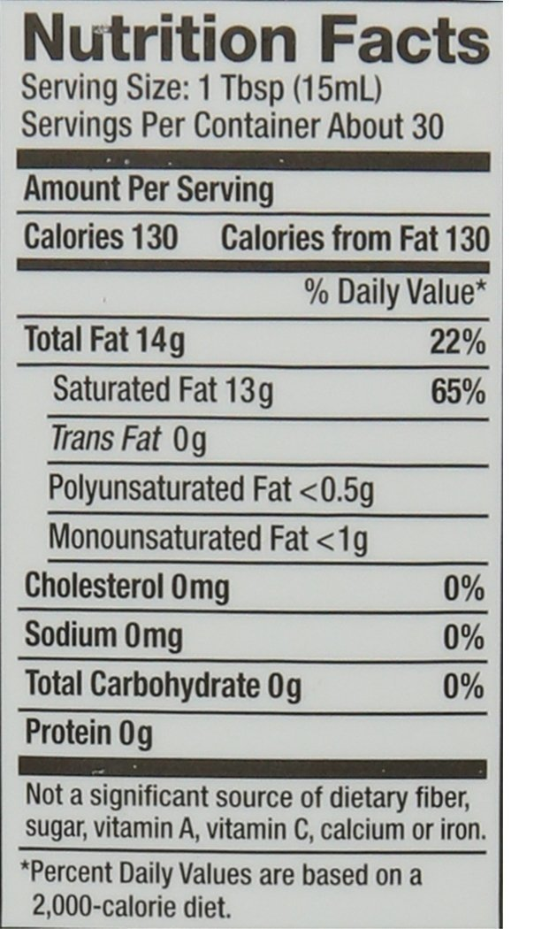 nutrition facts (organic extra virgin coconut oil)