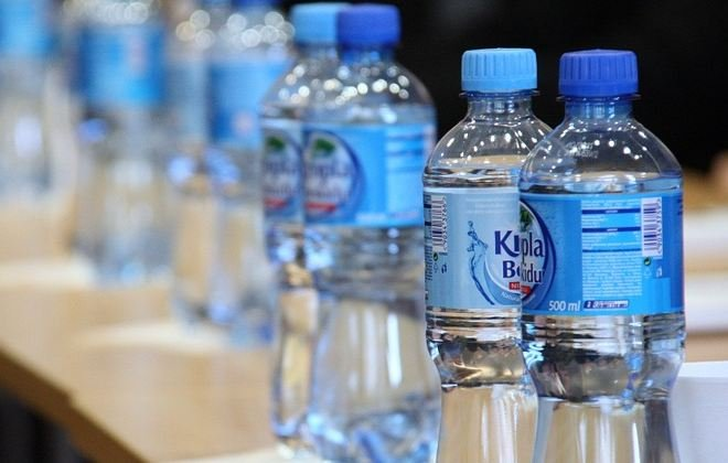 Mineral water in plastic bottles