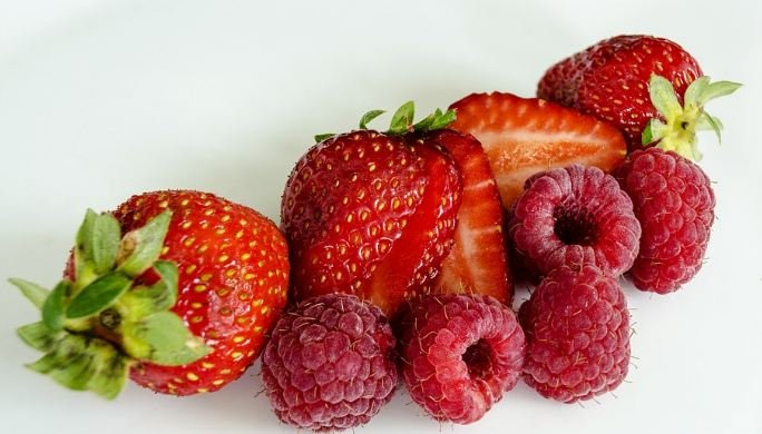 Strawberries and raspberries