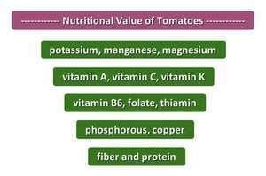 Nutritional value of tomatoes