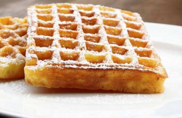 Waffles with high fructose corn syrup on the plate