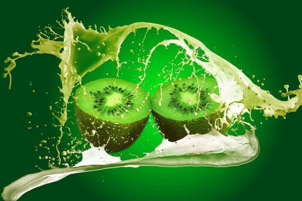 The juice of kiwi fruit