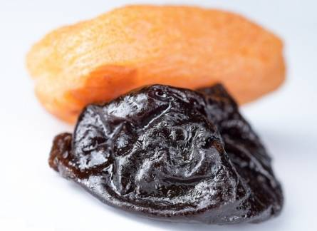 Dried plum and dried apricot