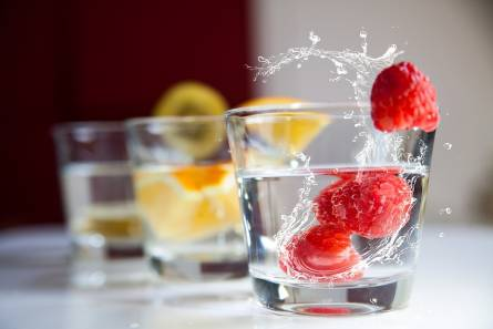 Water and frozen fruits
