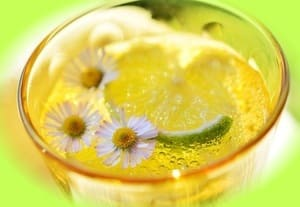 Glass of water with lemon and chamomile